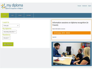 Print screen of home page EN My Diploma - Diploma recognition in Belgium