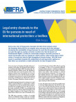 Cover page of FRA focus on legal entry channels to the EU