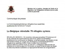 Print screen of press release on the resettlement of 75 Syrian refugees in BE