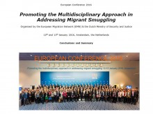 First page of report of EMN conference in Amsterdam including photo participants